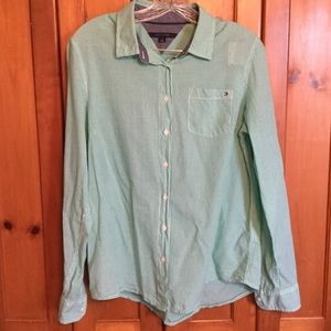 Tommy Hilfiger green check button down shirt